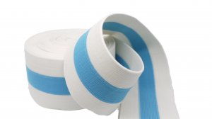 White and Sky Blue Striped Elastic - 2 1/2 inch - 1 Yard