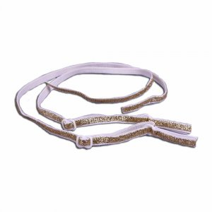 White and Gold Straps - 1/4 inch - 1 Pair
