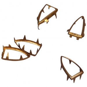 Gold Metal Open Boat Shape Studs - 14mm - 25 Pieces