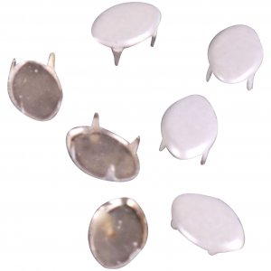Vintage Retro White Enameled Metal Leaf Studs - 8mm