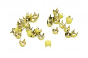 Pale Yellow Metal Round Studs - 4mm