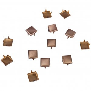 Square Brushed Gold Metal Studs - 6mm