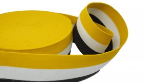 Yellow White and Dk Brown Striped Elastic - 2 1/2 inch - 1 Yard
