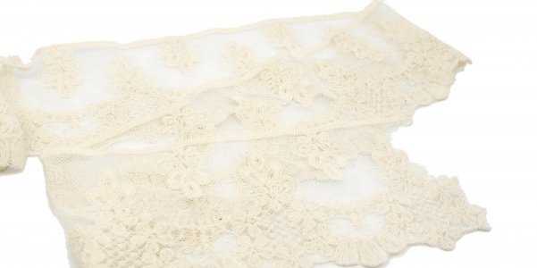 "Cream Embroidered Floral Lace - 3 1/4"" Wide - 1 Yard"