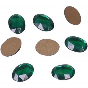 Green Glass Oval Rhinestone - 18mm - 25 Pieces