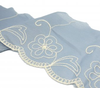 "French Blue Flower Embroidered Scalloped Trim - 5 1/4"" - 1 Yd"