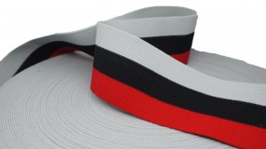 Red, Black and Gray Striped Elastic - 2 1/2 inch - 1 Yard