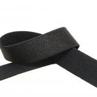 "Shiny Black Plush Back Strap Elastic - 24mm or 1"" Wide"