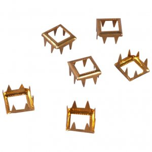 Gold Metal Open Square Studs - 9mm