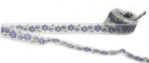 "White Mesh Trim with Purple Flowers - 7/8"" Wide - 3 Yards"