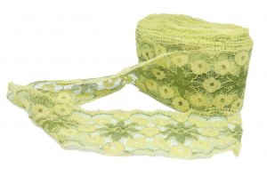 "Wide Green and Yellow Lace - 2 1/2"" Wide - 11 Yards"