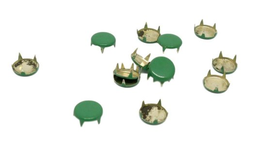Green Metal Round Studs - 10mm