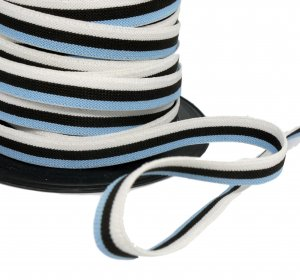 White Black and Blue Belt Elastic - 1/2 inch - 2 yards