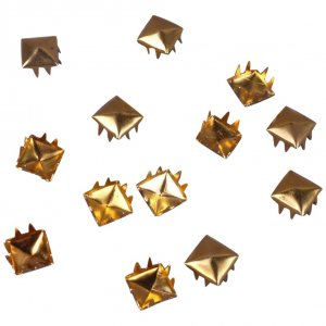 Gold Metal Pyramid Square Studs - 6mm - 100 Pieces