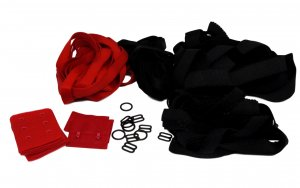 Bra Making Starter Kit - Black & Red Hardware Set