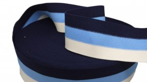 Blue, Navy and White Striped Elastic - 2 1/2 inch - 1 Yard