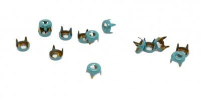 Aqua Blue Metal Open Round Studs - 5mm