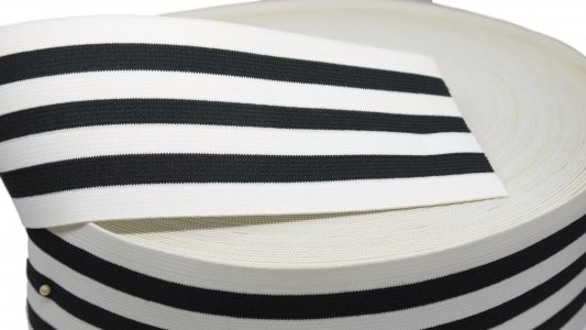 Black and White Striped Elastic - 3 inch - 1 Yd