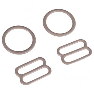 Tan Metal Ring & Slide Set - 3/4 inch or 18mm