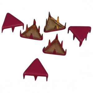 Burgundy Matte Metal Triangle Studs - 9mm