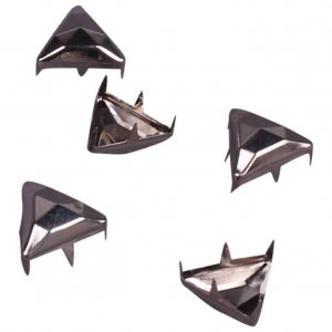 Silver Metal Pyramid Triangle Studs - 13mm