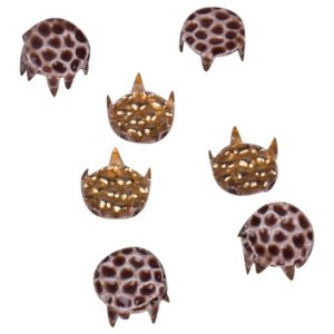 Brown Textured Metal Roound Studs - 7mm
