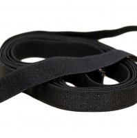 Shiny Black Plush Back Strap Elastic - 5/8 inch or 15mm