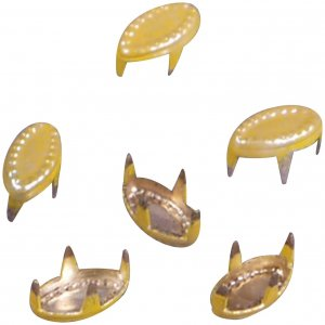 Vintage Retro Yellow Enameled Metal Leaf Studs - 6mm
