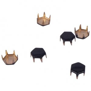 Black Metal Hexagon Studs - 7mm