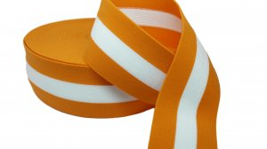 Orange and White Striped Elastic - 2 1/2 inch - 1 Yard