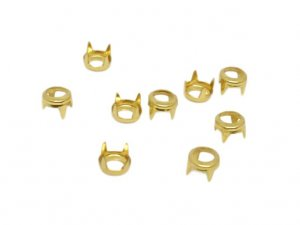 Gold Metal Round Open Studs - 4mm