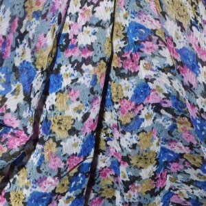 Tiny Floral Blue & Pink Georgette - 60 inch wide - 1 Yard
