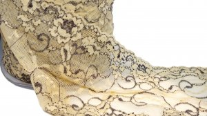 Light Yellow and Brown Stretch Lace - 6 inch - 2 Yards