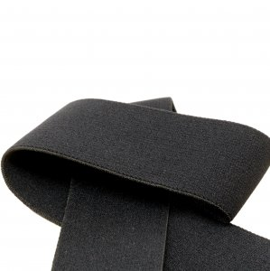 Black Plush Strap or Waistband Elastic - 1 3/8 inch Wide