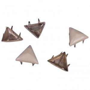Cream Metal Pyramid Triangle Studs - 13mm
