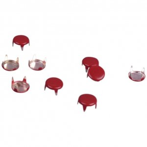 Red Enameled Metal Round Studs - 6mm