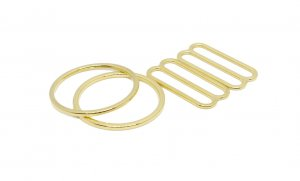 Gold Metal Alloy Ring & Slide Set - 1 inch or 25mm