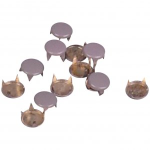 Light Grey Enameled Metal Round Studs - 6mm