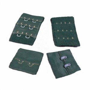 Medium Green Hook & Eye - 2 rows - 1 Pair