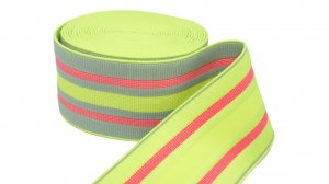 Fluorescent Yellow and Gray Striped Elastic - 2 5/8 inch - 1 Yd