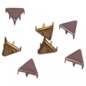 Light Brown Metal Triangle Studs - 9mm