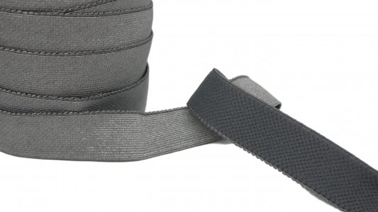 Gray Plush Back Waistband Elastic - 1 1/8 inch - 3 Yards