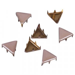 Beige Metal Triangle Studs - 9mm
