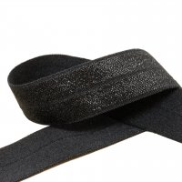 Black Fold Over Elastic - 3/4 inch or 20mm