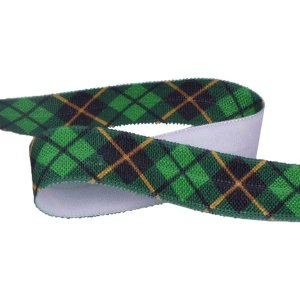 Green Plaid Fold Over Elastic - 5 Yards