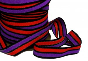 "Black Purple and Red Striped Knitted Trim - 1 1/4"" wide - 2 Yds"