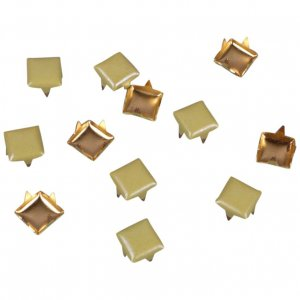 Pearl Green Metal Square Studs - 5mm