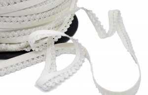 White and Silver Picot Edge Elastic - 5 Yards