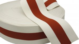 Rust and Pale Beige Striped Elastic - 2 1/2 inch - 1 Yard