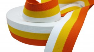 Orange, Yellow and White Striped Elastic - 2 1/2 inch - 1 Yard